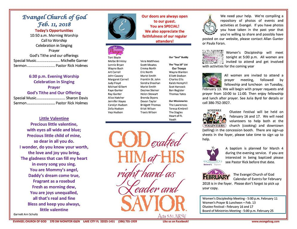 Worship folder, Lake City FL, Evangel Church of God, Prayer List